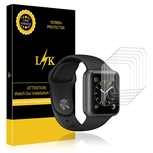 LK Apple Watch Schutzfolie, Liquid Skin [6 Pack 38mm Serial 1,Serial 2,Serial 3], [Vollständige Abdeckung] [Blasenfreie] HD klar Flexible Folie for Apple Watch Schutzfolie 38mm...