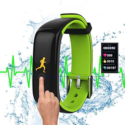 GUOLIAN Wasserdicht 0.96 Zoll Groß Farbig OLED Bildschirm Tracking Fitnessarmband Uhr mit Herzrfrequenzmessung und Blutdruckmesser, mit farbenfrohen dynamischen Bildschirmanzeige, Anruf / SMS Benachrichtigung Smartwatches von Stoppuhr und Wecker