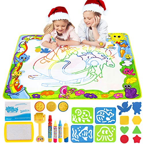 LOYO Water Doodle Mat - 120X90CM Aqua Water Doodle Drawing Painting Rainbow Mat with 4 Magic Pens, 3 Stamps for Toddlers, Boys, Girls Age of 2 3 4 5 6 7 8