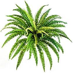Artplants Helecho Artificial Lean con 57 Hojas largas, Verde, Ø 70cm, 55cm - Planta Textil/decoración