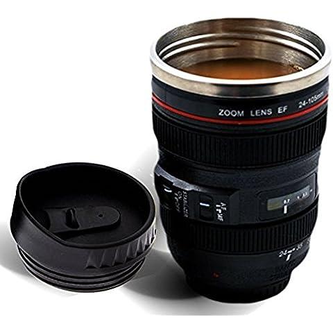 Lens Style corsa dell'acciaio inossidabile tazza di caffè / Thermos con perfetta tenuta coperchio, 24-105mm, nero con coperchio trasparente