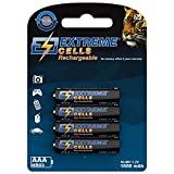 Extremecells wiederaufladbare Micro AAA 1000mAh Akkus HR03 1.2V Ni-MH Technologie 1000 Zyklen 4er Pack für Gigaset Telefon E630A/S850A GO