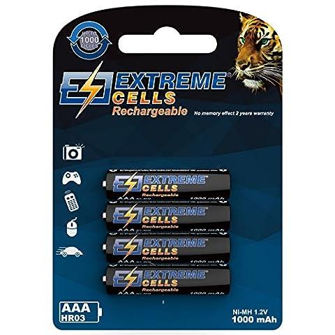 Extremecells batterie Micro AAA 1000mAh Accumulateur HR031.2V Batteries Ni-MH Technologie 1000Cycles 4-Pack pour téléphone Gigaset