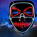 Lictin Masque Lumineux Halloween Lumière Masques d'Émetteurs d'horreur Nouveau Design pour Halloween Cosplay Festival Party Show Alimenté par Batterie- Bleu