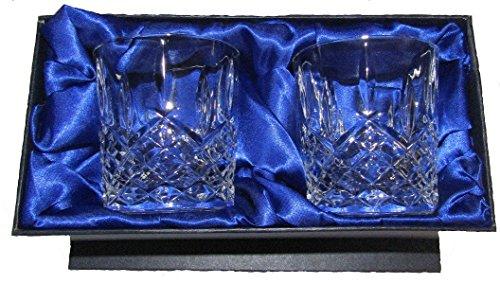 Crystal of Distinction Whisky-Gläser aus 24% Bleikristall, handgeschliffen, 2 Stück in Geschenkbox Buckingham Crystal