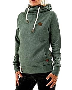 ZANZEA Winter Damen Hoodies Pullover Langarm Jacke Top Sweatshirt Pullover Tops Jumper Grün EU 40