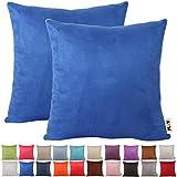 Plandv Fundas de cojín de ante sintético, ligeras, pack de 2unidades, disponibles en 21colores sólidos y 7tamaños, azul real, 65x65cm