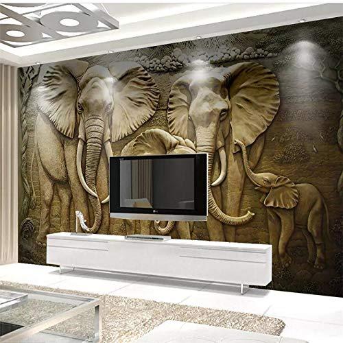 Elefanten Pj (Apoart 3D Wandtapete Fototapeten Papel De Parede 3D Gold Geprägt Elefanten Hintergrund Malerei Tapeten Wohnkultur200Cmx140Cm)