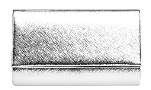 CASPAR TA361 elegante Damen Envelope Clutch Tasche / Abendtasche mit langer Kette, Farbe:silber;Größe:One Size