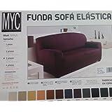 Funda de sillón 3 plazas elástica Shila en color Granate