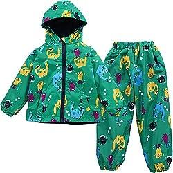 LZH Chubasquero Para Niño O Niñas Diseño Dinosaurio Con Capucha Chaqueta Mas Pantalones