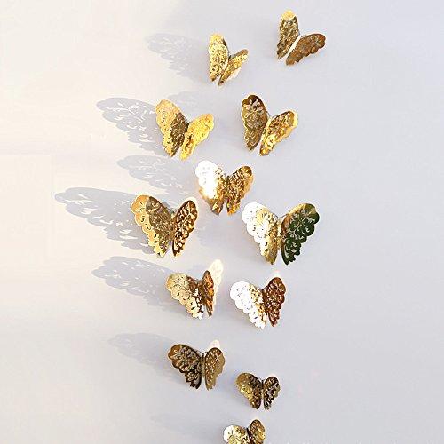 Zegeey Eingestellt DIY Schmetterlings Wandaufkleber Wandtattoo Wanddeko Dekor FüR Fenster Flur KüChe Kinderzimmer Wohnzimmer Babyzimmer Autos Fahrzeuge (B-Gold)