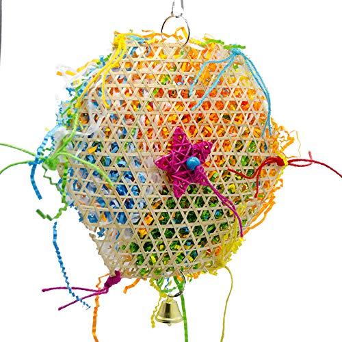 ETbotu Parrot Toys bunt Pet Parrot Kauen Beißen Spielzeug mit Glocke Bambus Weben Kauen Käfig für Vogel Supplies