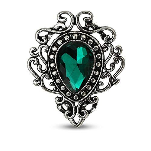 Ningz0l Brosche Hohl Spitze Tropfen Edelsteine   mit Diamant Brosche Hemdkragen Kleinen Kragen Nadel Kleidung Zubehör 26,7mm * 32mm