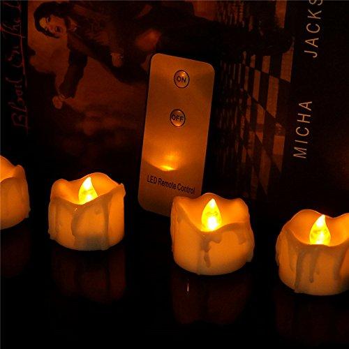 ne Bernsteinfarbige Geführte Kerzelichter Mit Fernbedienung, Flammenlose Teelichter Batteriebetriebenes Flackern für Weihnachtsbaum, Halloween Dekorationen Innen, Hochzeit, Kirche ()