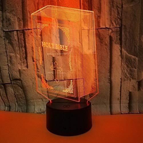 3D LED-Lampen nahe Licht, 7 Farben, Touch/Fernbedienung Art, USB/AA-Batterie, Schreibtisch-Tischdekorationslampe für Kinder, Bibel