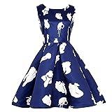 TUDUZ Damen Vintage Blumen Partykleid Rockabilly Ärmellos Retro Prom Swing Kleider Cocktailkleid Abendkleid
