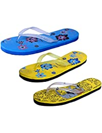 IndiStar Womens Rubber Printed Hawaii Slipper House Flip Flop(Pack Of 3)