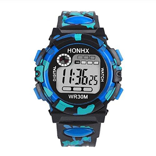 Rosepoem Niños Camo Relojes digitales LED de moda Reloj Reloj de pulsera impermeable Al aire libre
