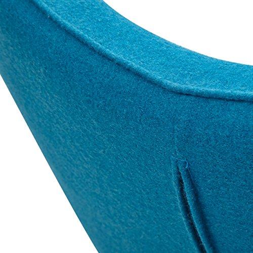 Designer Ohren-Sessel petrol mit Armlehnen aus Wolle blau | Anjo | Blauer Club-Sessel im Retro-Design mit Gestell in Holz | Moderner Wohnzimmer-Sessel auch als Relax-Sessel zu benutzen - 9