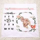 Quibine Baby Monthly Milestone coperta, neonato fotografia sfondo Prop: crescere neonati e bambini 101,5x 101,5cm