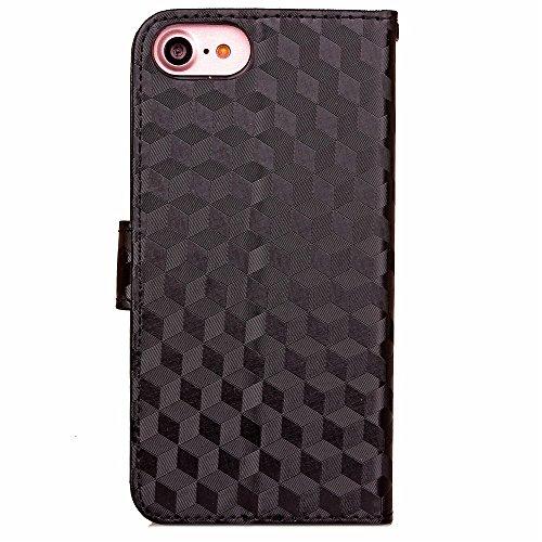 iPhone Case Cover Normaler Farben-Fall-Diamant-Gitter-3D Effekt-Fall-Abdeckungs-Folio-Standplatz-Mappen-Kasten mit Handbügel für IPhone 7 ( Color : Red , Size : IPhone 7 ) Black