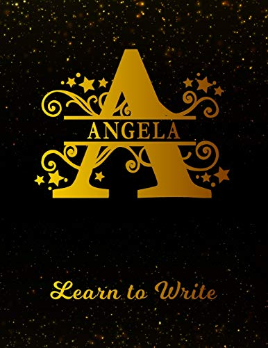 Angela Learn To Write: Personalized Letter A First Name Handwriting Primary Composition Practice Paper | Gold Glitter Effect Notebook Cover | Dashed ... 1st 2nd 3rd Grade Students (K-1, K-2, K-3) (Amazon Für Studenten)