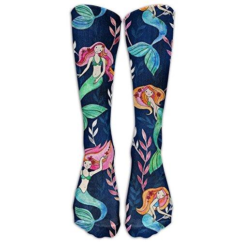 (hutaz Little Merry Mermaids Tube Socks For Women & Men - Graduated Athletic Fit For Running, Nurses, Flight Travel, Skiing & Maternity Pregnancy - Boost Stamina & Recovery)