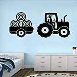 M 91cmx 42 cm Tracteur Sticker Mural Sticker Pour Chambre d'enfant Remorque Ferme Garçon Chambre Décoration Stickers Muraux Monochrome Affiche 3D Nouveau LA872