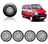 #9: Carfrill 13-inch Silver and Black Wheel Cover Cap for Maruti Suzuki Eeco (Set of 4)
