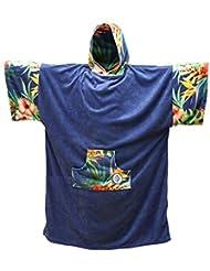 MADNESS Change Robe Poncho Unisize Navy/Flower para Movimiento en la playa