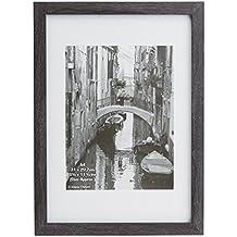 Wesa4gry - transparente de Westminster Paperwrapped madera A4 para fotografías (21 x 30 cm) marco de gris oscuro con Plexi Protector de pantalla de cristal. Tablero de la mesa o pared para colgar