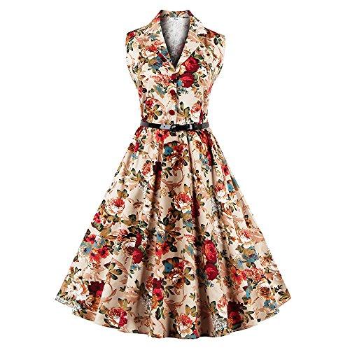 DressLily Vintage Lapel Floral Print Belt A-line Women Dress,Yellow,4XL
