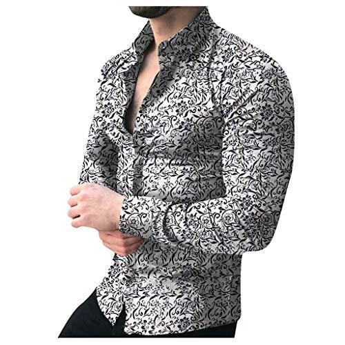 6645d10eb99bb4 HUNRIZI T-Shirt Top Herren Casual Printed Floral Langarm Mode Knopf Bluse  (Grau,