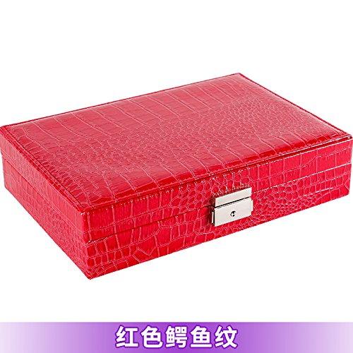 lzzfw Schmuckschatulle Weihnachtsgeschenk Box Leder Holz Schmuck Ring Lock Box Mit Aufbewahrungsbox 28 * 19 * 6,5 Cm, ??E. (Speicher-lock-box-set)