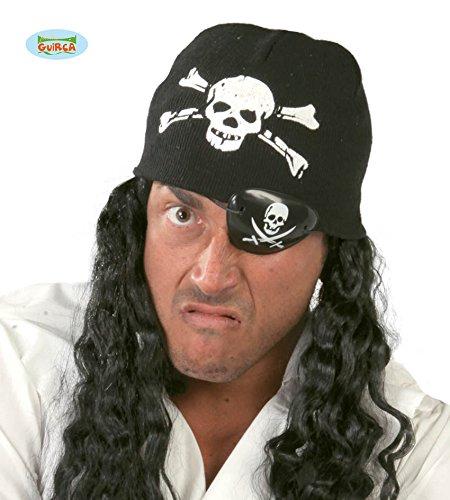 Guirca Schwarze Piraten Mütze mit Totenkopf für Herren