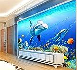 Unterwasserwelt Coral Dolphin Wall Custom 3D Wandbild Hotel Wohnzimmer Tapete Aquarium Promotion Tapete