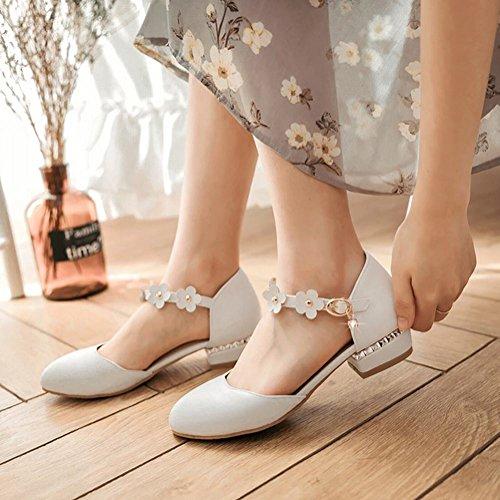Mee Shoes Damen süß ankle strap Knöchelriemchen runde Pumps Weiß