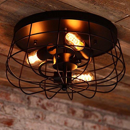 Jiuzhuo - Lámpara de techo de metal industrial con 3 luces