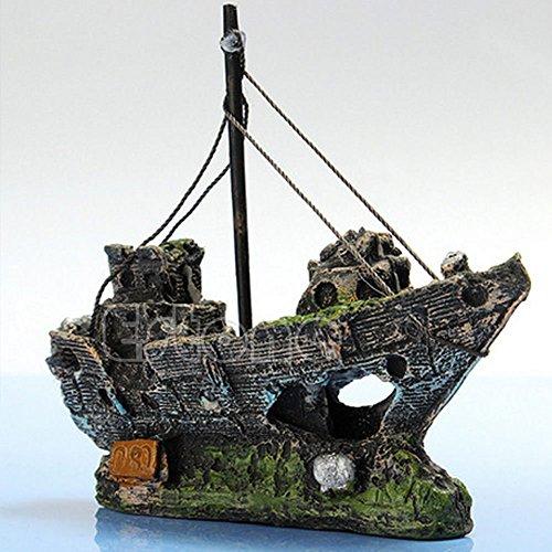 Aquarium Ornament Wrack Segelboot Versenkt Schiff Zerstoerer Aquarium Hoehle