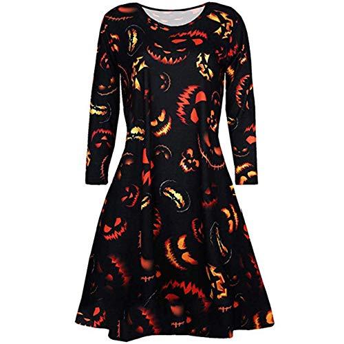 (Frauen Kleider, Halloween Frauen Sexy Slim Vampir Horror Blut Kostüm Damen Smock Flared Swing Dress (Farbe : Schwarz, Größe : L))
