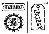 VIVA DECOR Schablone Einzelstück DIN A5 3 Motive Malschablone Basteln