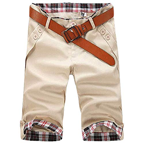Junjie Männer Sport Slim Fit Plaid Button Lässige Jogginghose Kordelzug Sweatpants Shorts Hose Schwarz, Grau, Khaki, Beige, Blau, Dunkelblau, Braun, Armee Grün, Gelb (Sweatpant-sets Womens)