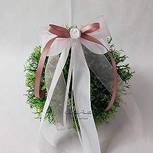 10 Stück Autoschleifen - Antennenschleifen - Spiegelschleifen Hochzeit Altrosa mit Weiß oder Creme