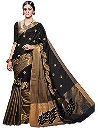 Rajeshwar Fashion Women's Cotton Silk Saree With Blouse Piece (Vishwa Work Black 1)