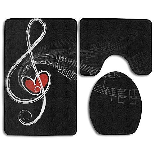 Set di 3 pezzi antiscivolo per bagno, con simboli musicali e d'amore alla moda, composto da tappetino da bagno, tappetino sagomato e copriwater