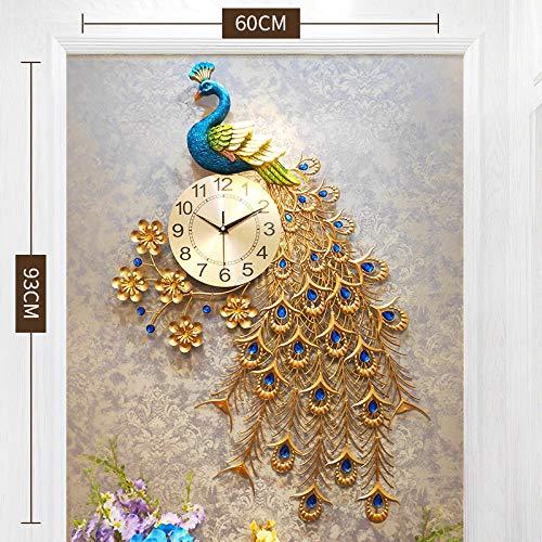 ZHANGDAWEI Reloj Mudo Europeo Reloj de Pared Reloj de Pared de Pavo Real Sala de Cuarzo Creativo Moderno Ambiente Minimalista Rico Pavo Real auspicioso 93 * 60 cm