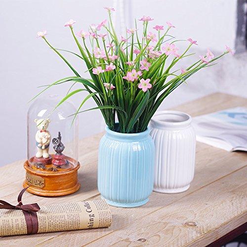 ZHUDJ Pflanzen Grün-Shik Kit Ornamente Home Kleine Topfpflanzen Dekoration Blumen Aus Kunststoff Künstliche Blumen, Rosa Lauch Blumenvasen Optimierte + Blau