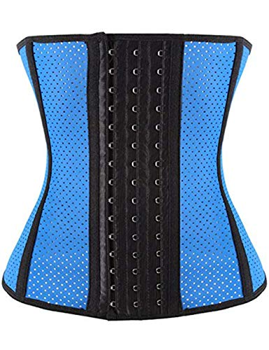 FeelinGirl Damen Latex Training Sport Unterbrust Korsett Cincher Shaper Body Tailenmieder L Blau mit Loch