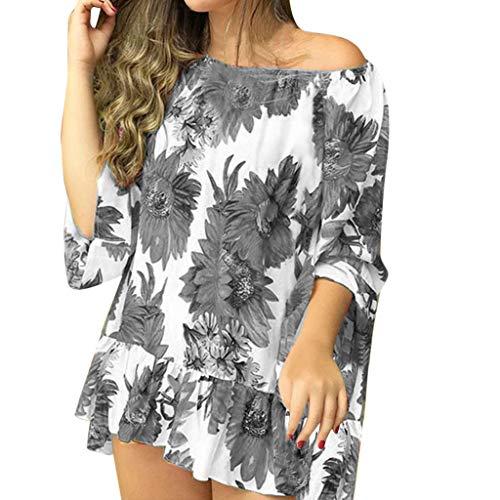 TOPKEAL Oberteil T-Shirt Damen Sommer Elegante Damen Bluse Casual Floral Print Blouse Short Sleeve Loose Tunika Frühling Tops Mode 2019